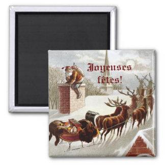 Père Noël avec traîneau et renne aimant décoratif Square Magnet