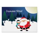 Père Noël et Manchot  Santa Claus cartes Greeting Card
