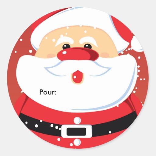 Père Noël Etiquettes cadeaux Autocollants ronds Sticker
