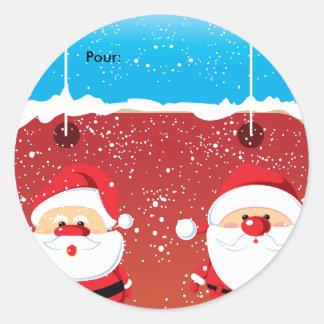 Père Noël Santa Claus Autocollants ronds Etiquette Round Sticker