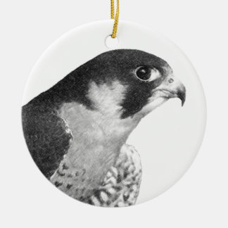 Peregrine Falcon-Pencil Round Ceramic Decoration