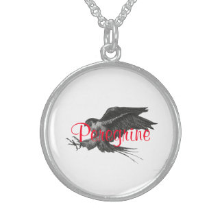 Peregrine pen and ink Silvery Round Necklace. Round Pendant Necklace