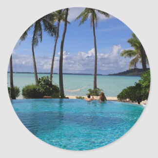 Perfct Infinity pool on Vanilla Iceland Classic Round Sticker