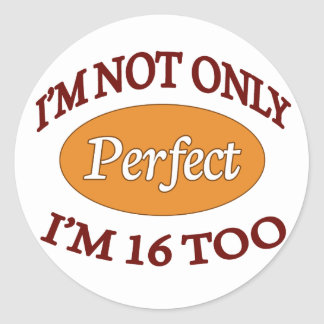 Perfect 16 Year Old Classic Round Sticker