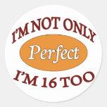 Perfect 16 Year Old Round Sticker