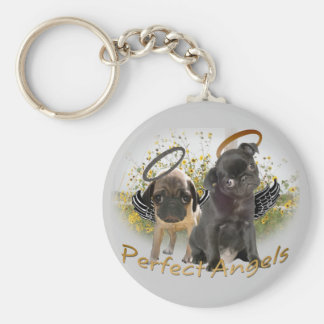 Perfect Angel Pugs Basic Round Button Key Ring