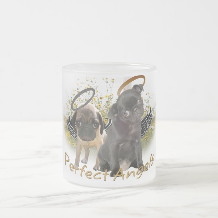 Perfect Angel Pugs Frosted Glass Coffee Mug