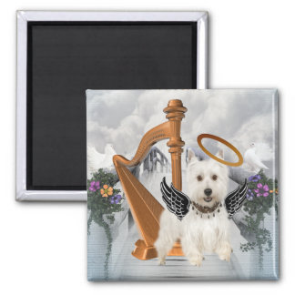 Perfect Angel Westie Square Magnet