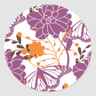 Perfect Blooms and Butterflies Round Stickers