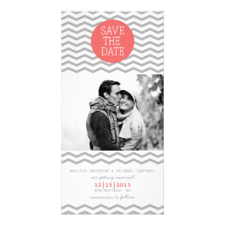 Perfect Chevron Coral & Gray Save The Date Photo Card