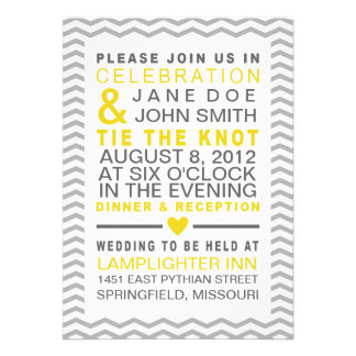 Perfect Chevron Yellow & Grey Invitation