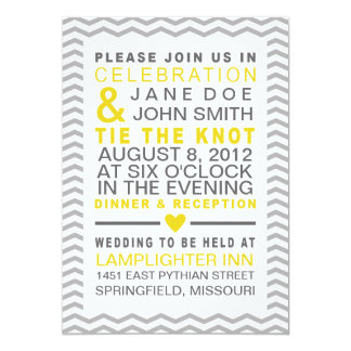 Perfect Chevron Yellow & Grey 13 Cm X 18 Cm Invitation Card