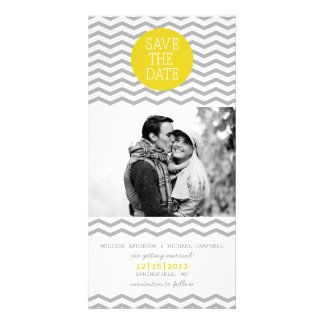 Perfect Chevron Yellow & Grey Save The Date Photo Card
