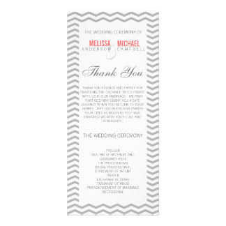 Perfect Chevron/Zig Zag Wedding Program Personalised Rack Card