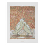 Perfect couple adorable love birds whimsical art poster