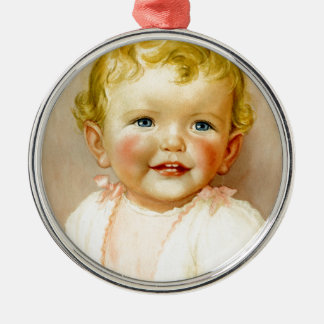 perfect gift for a baby girl birth! Silver-Colored round decoration