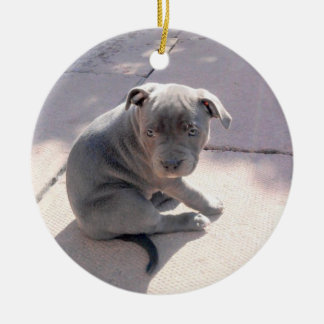 Perfect gift for the staffordshire bull terrier lo round ceramic decoration