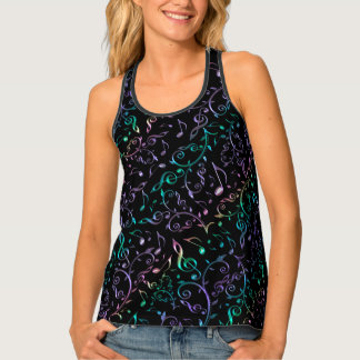 Perfect Harmony Rainbow Gradient Music Notes Tank Top