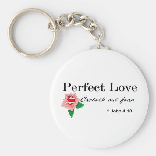 Perfect love casteth out fear basic round button key ring