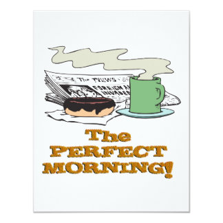 perfect morning coffee donut and paper 11 cm x 14 cm invitation card