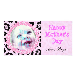 Perfect Mother's Day Gift Pink Cheetah Frame - Customised Photo Card