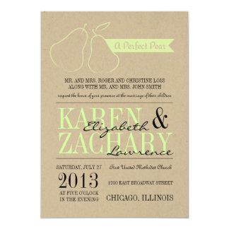 "Perfect Pear Wedding Invitation 5"" X 7"" Invitation Card"