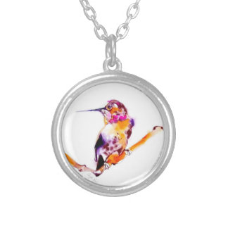 """""""Perfect Perch"""" Hummingbird Print Silver Plated Necklace"""