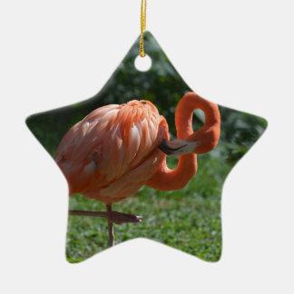 Perfect Pink Flamingo Ceramic Star Decoration