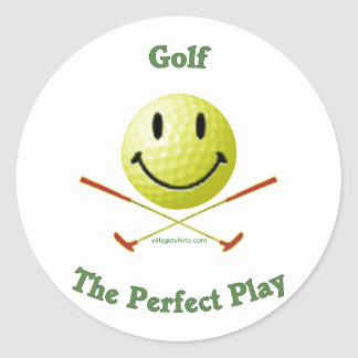 Perfect Play Golf Smiley Round Sticker