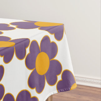 Perfect Plum and Pumpkin Heart Flowers Tablecloth