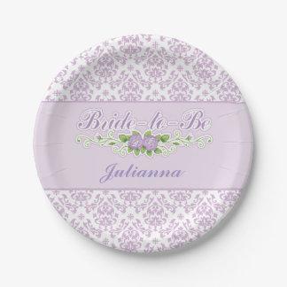 Perfect Purple, Damask Pattern Bridal Shower 7 Inch Paper Plate