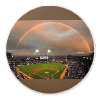 Perfect Rainbow over a Baseball Stadium Ceramic Knob