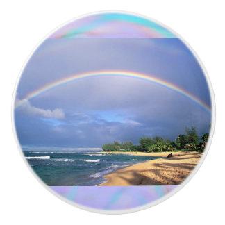 Perfect Rainbow over a Beach Ceramic Knob