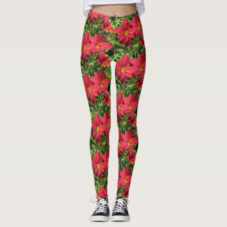 Perfect Red Daylilies Leggings