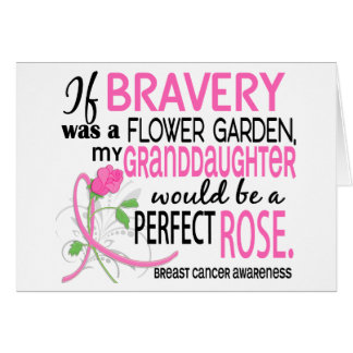 Perfect Rose 2 Granddaughter Breast Cancer Greeting Card