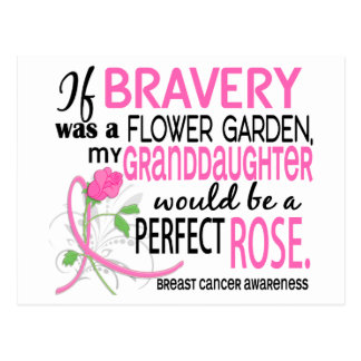 Perfect Rose 2 Granddaughter Breast Cancer Postcard