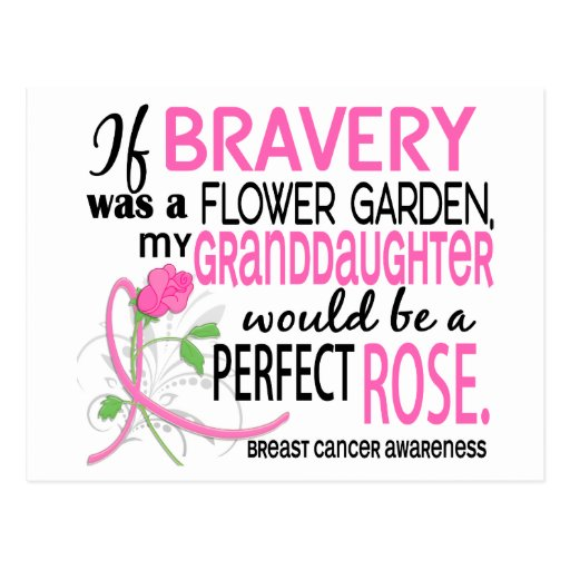 Perfect Rose 2 Granddaughter Breast Cancer Post Card
