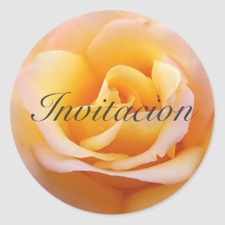 Perfect Rose - Spanish Invitation Classic Round Sticker