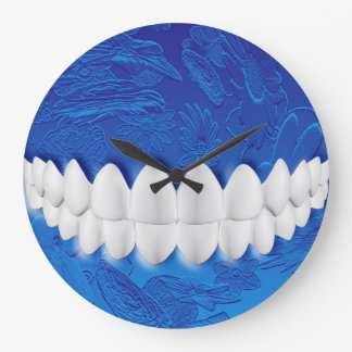 Perfect White Teeth Bite Dentist Blue Wall Clock
