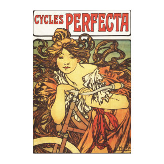Perfecta Bicycles with Woman Advertisement Poste Canvas Print