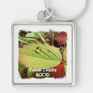 Perfection in Droplet Form; Yukon Chicks ROCK! Silver-Colored Square Key Ring
