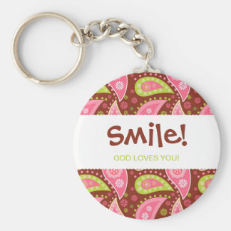 Perfectly Paisley Keychain Smile God Loves You