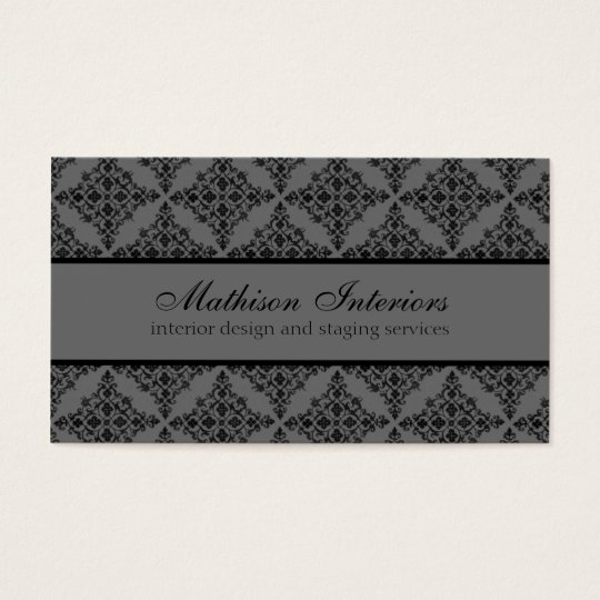 Perfectly Polished Damask Business Card, Grey Business Card