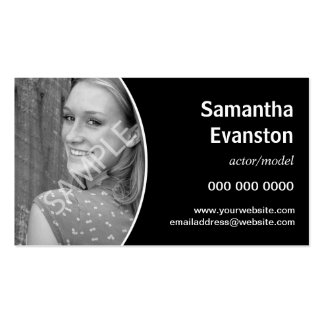 Performers Headshot Curved Black Double-Sided Standard Business Cards (Pack Of 100)