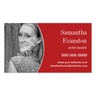 Performers Headshot Curved Red Double-Sided Standard Business Cards (Pack Of 100)