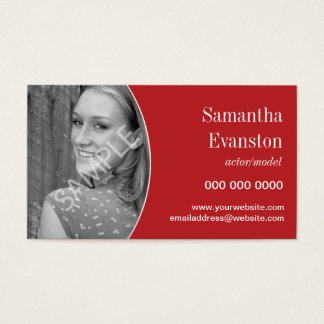 Performers Headshot Curved Red Business Card