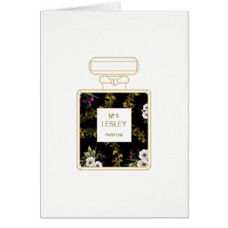 Perfume Art, Black Floral Birthday Card