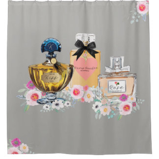 Perfume Art, Floral and Gray Shower Curtain