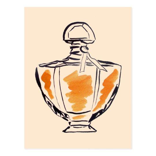 Perfume bottle fashion watercolour illustration postcard