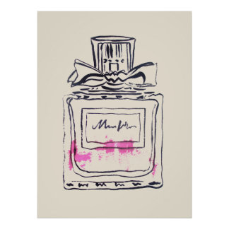 Perfume bottle fashion watercolour illustration poster